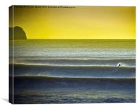 Solo surfing at a Gower beach, Canvas Print