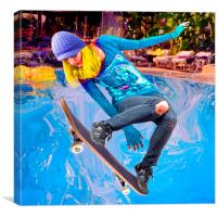 Skateboarding on Water, Canvas Print