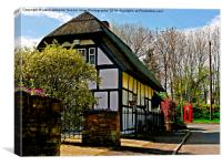 English Cottage & Red Telephone Box, Canvas Print