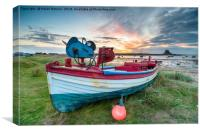 Fishing Boats at Lindisfarne Harbour, Canvas Print