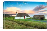 Thatched Cottage on Uist in Scotland, Canvas Print