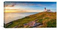 Sunset at Stoer head lighthouse in Scotland, Canvas Print