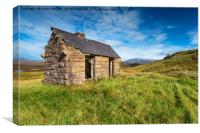 An old bothy at Elphin in Scotland, Canvas Print