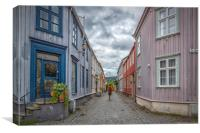 Trondheim Narrow Street with Backpacker, Canvas Print
