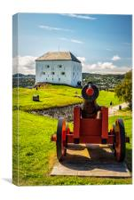 Trondheim Kristiansten Fortress with Canon, Canvas Print