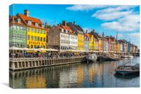 Copenhagen Nyhavn District on a Sunny Day, Canvas Print