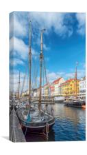 Copenhagen Nyhavn District with Foreground Tallshi, Canvas Print