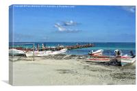 Jetty with fishing boats, Canvas Print