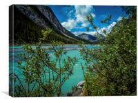 Bow River flowing Rocky Mountains Canada, Canvas Print