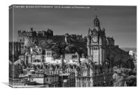 Edinburgh Castle & The Balmoral Hotel, Edinburgh, Canvas Print