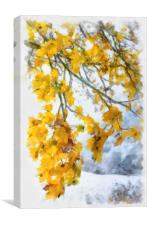 Yellow leaves and first snow, Canvas Print