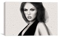 Megan Fox HDR Portrait in Black and White., Canvas Print