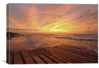 Sunrise over a jetty , Canvas Print
