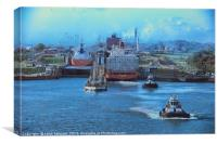 early morning on the panama canal, Canvas Print