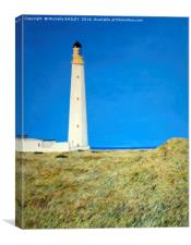 Barnes Ness Lighthouse Painting, Canvas Print
