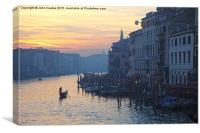gondoliers on the grand Canal evening time with th, Canvas Print