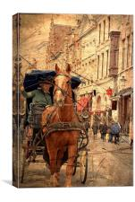 Horse and Driver in Brugge , Canvas Print