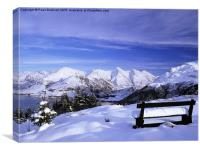 Bench looking to Five Sisiters of Kintail in Snow, Canvas Print