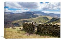 Stile and Stone Wall in Snowdonia, Canvas Print