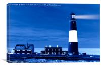 Portland Bill Lighthouse, night effect, England, Canvas Print
