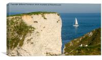 Old Harry Rocks, Sailing Boat, Dorset, England, UK, Canvas Print