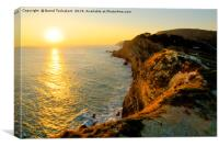 Sunset at Lulworth coast, Dorset, England, UK, Canvas Print