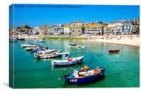 st.ives harbour cornwall, Canvas Print