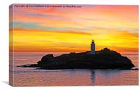 godrevy lighthouse sunset, Canvas Print