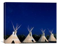 Shoshone Teepees at night, Canvas Print