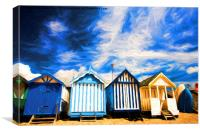 Beach huts at Southend, Canvas Print