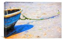 Blue boat moored on sand, Canvas Print