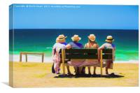 Four ladies at the beach, Canvas Print