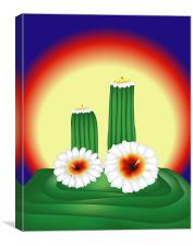 Blooming Cactuses in Sunset, Canvas Print