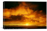 Sunset over the Sea at Newquay, Canvas Print