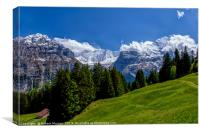 Alpine Meadow with Mettenberg and the Eiger, Canvas Print