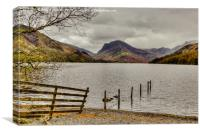 Fence Line into Buttermere Lake, Canvas Print
