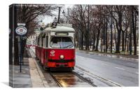 Old tram on the Ringstrasse line in the heart of , Canvas Print