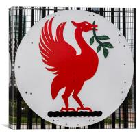 Liver bird bade from HMS Liverpool, Canvas Print