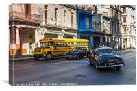 Old vehicles in Centro Havana, Canvas Print