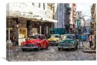 Colourful oldtimers in Centro Havana, Canvas Print