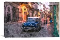 Day turns to night in Havana, Canvas Print
