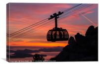 Silhouette of the Dubrovnik cable car, Canvas Print