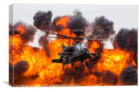 Army Air Corps WAH-64D Apache in front of a wall o, Canvas Print