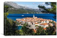 Framing Korcula old town in the trees, Canvas Print