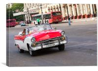 Red and white convertible on the Prado, Canvas Print