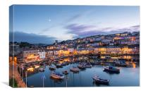 Brixham Harbour at Twilight, Canvas Print