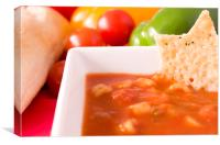 Minestrone Soup and Parmesan Wafer, Canvas Print