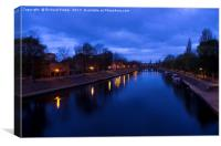Daybreak over the River Ouse, York, Canvas Print