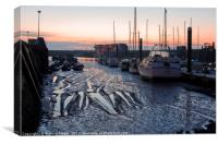 Low Tide at Bridlington Harbour, Canvas Print
