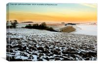 Snow on the East Yorkshire Wolds., Canvas Print